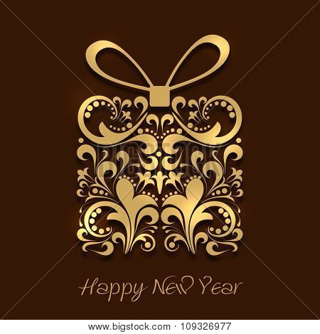 Beautiful greeting card with floral design decorated gift on brown background for Happy New Year celebration.