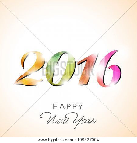 Colorful shiny text 2016 for Happy New Year celebration.
