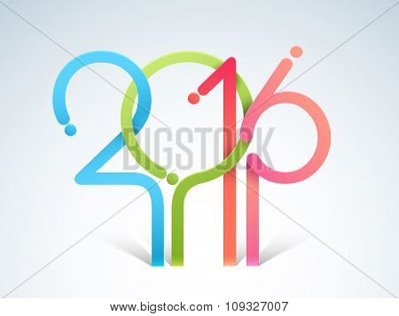 Stylish colorful text 2016 on glossy sky blue background for Happy New Year celebration.