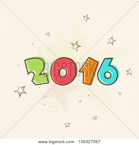 Colorful text 2016 on stars decorated background for Happy New Year celebration.