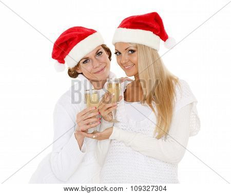 Young Women  With Glasses Of Champagne. Christmas.