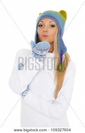 Young  Woman In Winter Clothes.