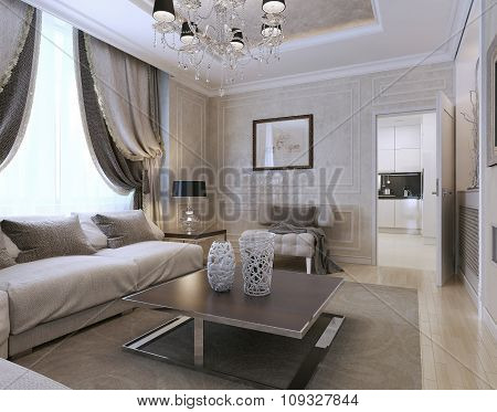 Living Room Art Deco And Classic Style