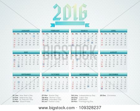 Stylish Yearly 2016 Calendar design for Happy New Year celebration.