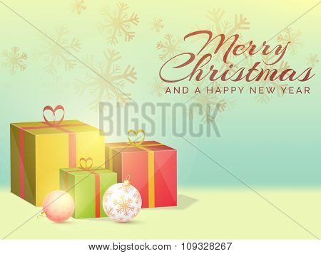 Glossy snowflakes decorated greeting card with colorful gifts and Xmas Balls for Merry Christmas and Happy New Year celebration.