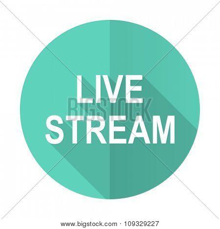 live stream blue web flat design circle icon on white background