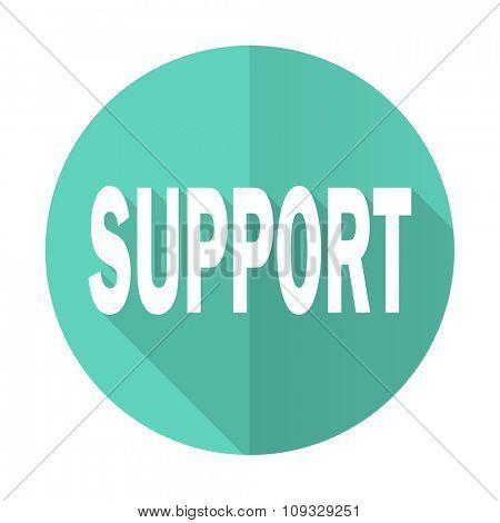 support blue web flat design circle icon on white background