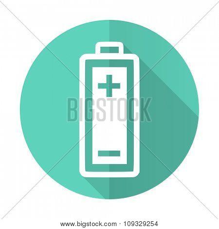 battery blue web flat design circle icon on white background