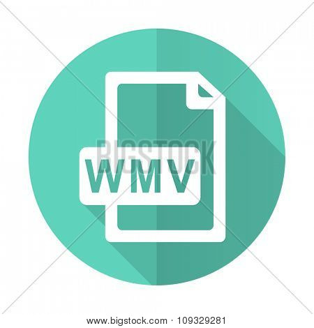 wmv file blue web flat design circle icon on white background