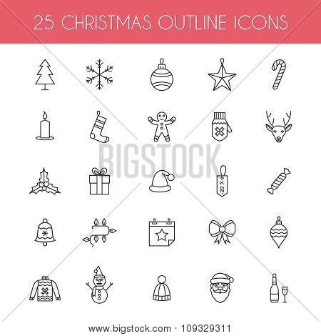 Christmas outline icons.