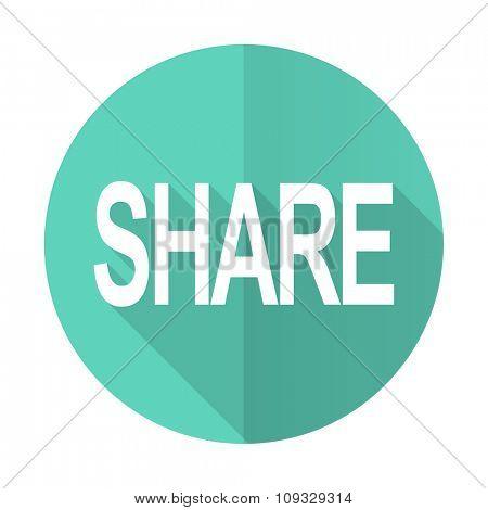 share blue web flat design circle icon on white background