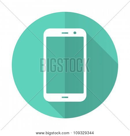 smartphone blue web flat design circle icon on white background