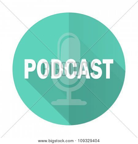 podcast blue web flat design circle icon on white background