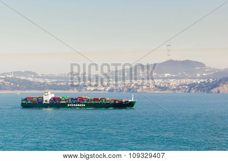 Oakland, CA - August 28, 2008:  San Francisco Bay, the Evergreen ship
