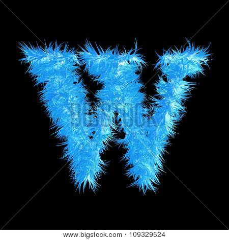 Concept or conceptual 3D blue or ice frost or frozen grass cool font part of collection isolated on background