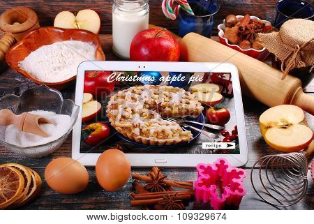 Baking Christmas Apple Pie With Tablet Pc