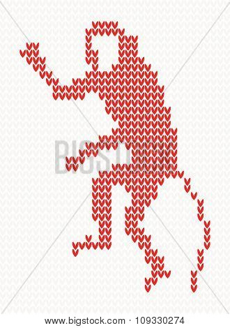 Knitted pattern with monkey. Chinese zodiac symbol of New Year. Christmas concept for banner, placard, billboard or web site. New Year retro greeting card. Image for invitation