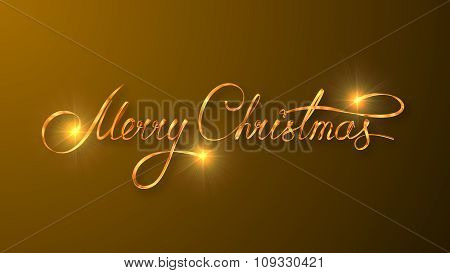 Gold Text Design Of Merry Christmas On Yellow Color Background