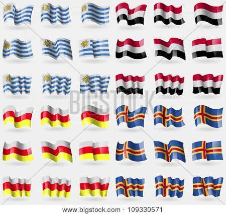 Uruguay,  Yemen, North Ossetia, Aland. Set Of 36 Flags Of The Countries Of The World.