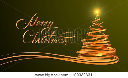 Gold Text Design Of Merry Christmas And Christmas Tree From Gold Tapes Over Green Background