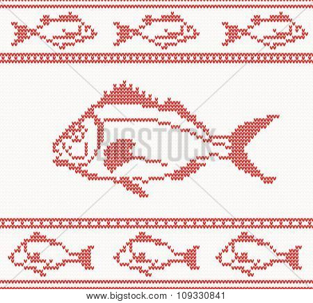 Knitted pattern with fish. Christmas concept for banner, placard, billboard or web site. New Year retro greeting card. Image for invitation