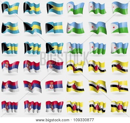 Bahamas, Djibouti, Serbia, Brunei. Set Of 36 Flags Of The Countries Of The World.