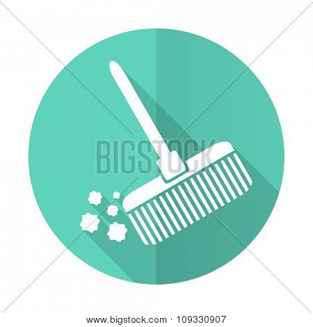 broom blue web flat design circle icon on white background