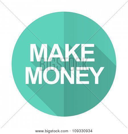 make money blue web flat design circle icon on white background