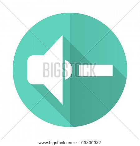 speaker volume blue web flat design circle icon on white background