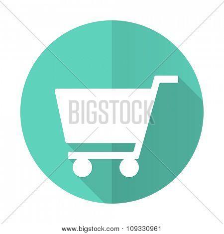 cart blue web flat design circle icon on white background