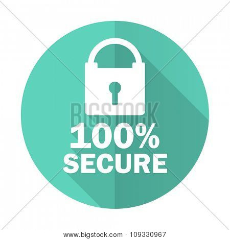 secure blue web flat design circle icon on white background