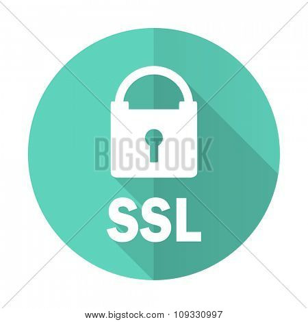 ssl blue web flat design circle icon on white background