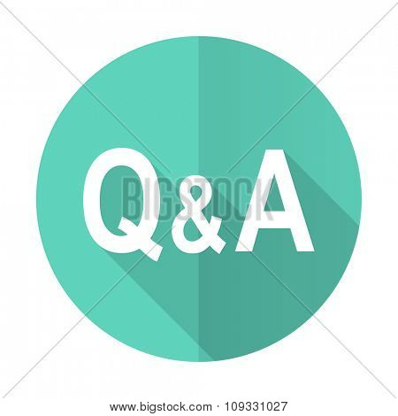 question answer blue web flat design circle icon on white background