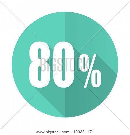 80 percent blue web flat design circle icon on white background