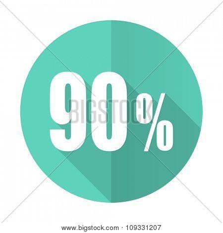90 percent blue web flat design circle icon on white background