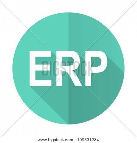 erp blue web flat design circle icon on white background