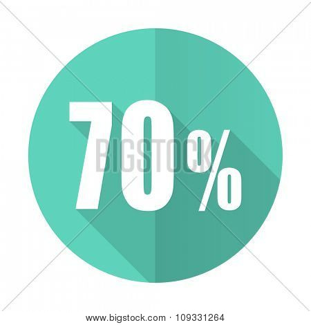 70 percent blue web flat design circle icon on white background