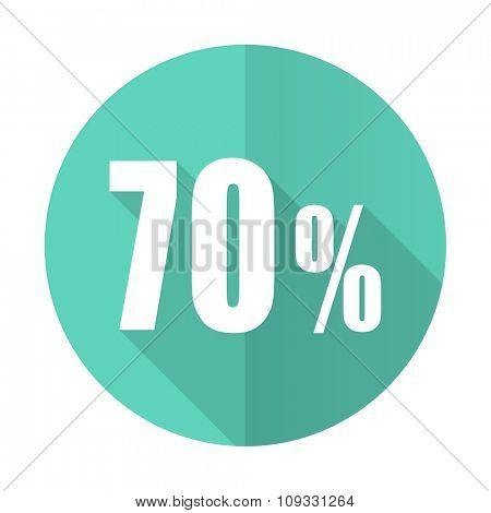 70 percent blue web flat design circle icon on white background
