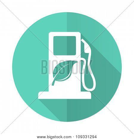 biofuel blue web flat design circle icon on white background