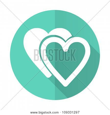 love blue web flat design circle icon on white background