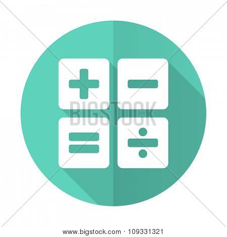 calculator blue web flat design circle icon on white background