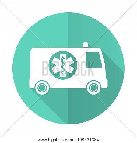 ambulance blue web flat design circle icon on white background