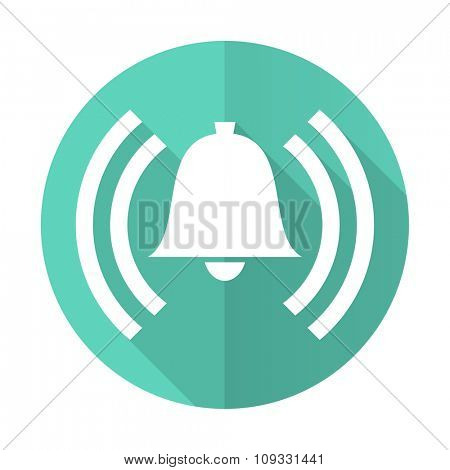 alarm blue web flat design circle icon on white background