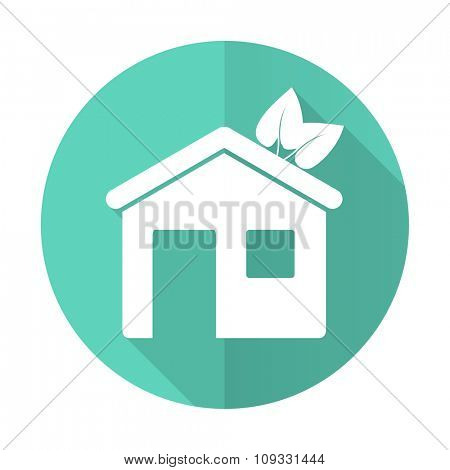 house blue web flat design circle icon on white background