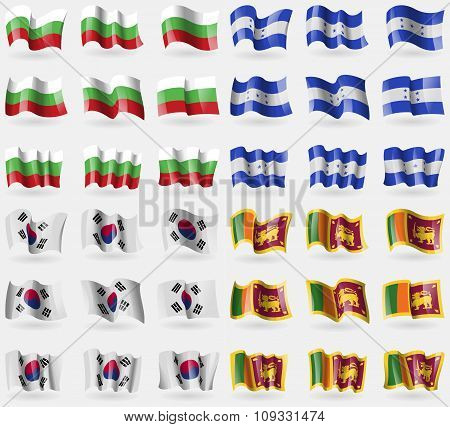 Bulgaria, Honduras, Korea South, Sri Lanka. Set Of 36 Flags Of The Countries Of The World.