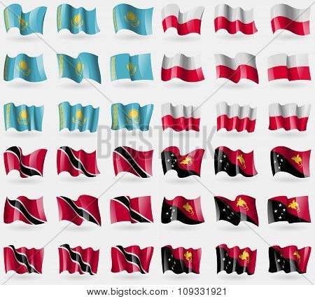 Kazakhstan, Poland, Trinidad Adn Tobago, Papua New Guinea. Set Of 36 Flags Of The Countries Of The