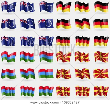 Cook Islands, Germany, Karelia, Macedonia. Set Of 36 Flags Of The Countries Of The World.