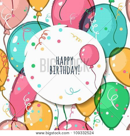 Vector Birthday Card With Seamless Pattern.