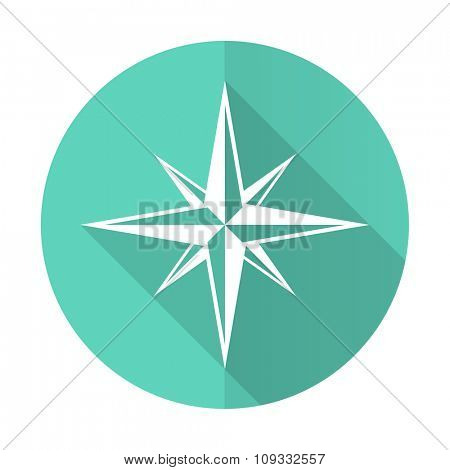 compass blue web flat design circle icon on white background