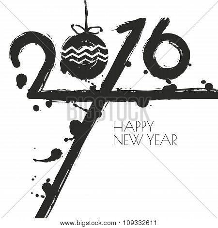 New Year 2016 Vector Greeting Card With Watercolor Background.